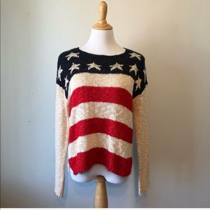 FOREVER 21 -Cream Crewneck Flag Sweater-Medium